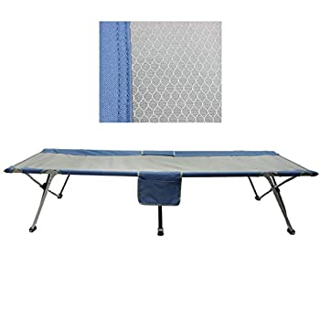 Homecall Lit de camp pliable avec rangement latéral (Gris/bleu)