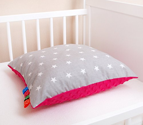 Amilian® Dekokissen Kissenbezug Kissen Kuschlig Flauschig 40cm x 40cm Sternchen grau/rosa