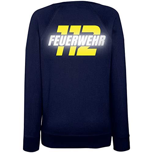 Shirt-Panda Damen Sweatshirt Feuerwehr 112 - Druck Brust & Rücken Dunkelblau (Druck Gelb/Reflex) XS
