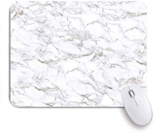 Dekoratives Gaming-Mauspad,Beige Carrara Marmor Calacatta Weiß Stein Fliesen Design Braun Digital Limestone,Bürocomputer-Mausmatte mit rutschfester Gummibasis