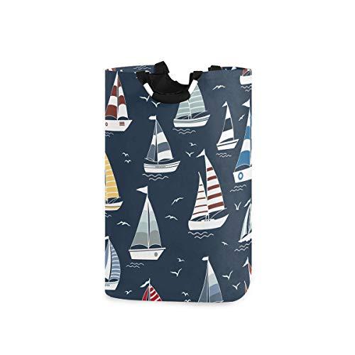 UMIRIKO Bolsa de lavandería con diseño de velero, plegable, cesta de lavandería, cesto de tela para ropa, 50 l, con asas 2021068
