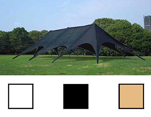 CLP stabiles & hochwertiges XXL Sternzelt, Grundfläche 14 x 25 m, inklusive Tragetasche, leicht aufzubauen Schwarz