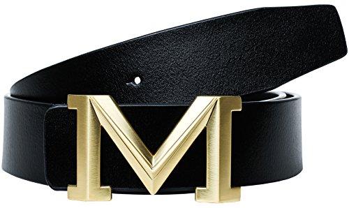 Men's Big Gold M Buckle 38-mm Imported Italian...