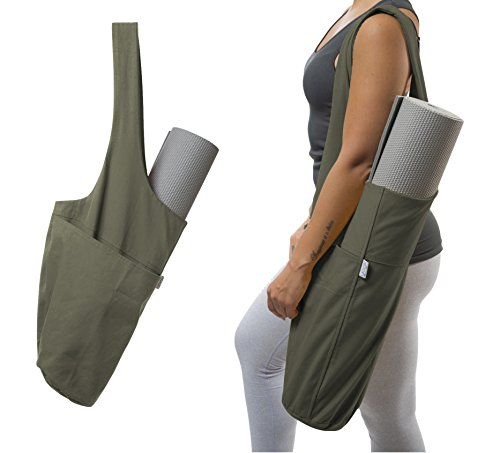 Yogiii Yoga Mat Bag | The Original YogiiiTote | Yoga Mat Tote Sling Carrier w/Large Side Pocket & Zipper Pocket | Fits Most Size Mats (Olivine Green)