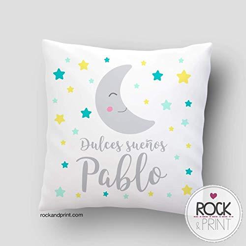 Cojín decoración dulces sueños luna. 40x40 cm, incluye relleno. Elige el color....