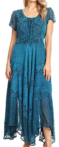 Sakkas 1322 Marigold Embroidered Fairy Dress - Turquoise Blue - S/M