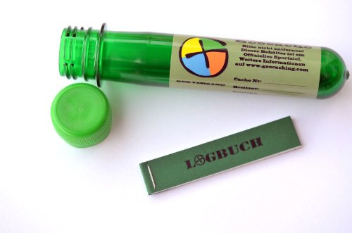 5 x Petling - Logbuch - Stift komplett Set Paket Geocaching Cache Versteck - 13 cm grün