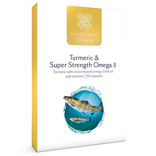 Turmeric & Omega 3 | Healthspan | 60 Capsules | Omega 3 Fish Oil | Vitamin D3 | Vitamin C | Sustainably Sourced |