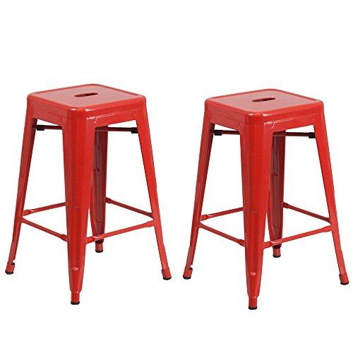 Vogue Furniture Direct Barstool 24' backless metal Stools RED (Set of 2)-VF1571002