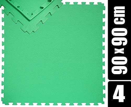 EYEPOWER Esterilla de entrenamiento XL de 180 x 180 cm con borde, juego de 4 esterillas de gimnasia de 90 x 90 cm, alfombra de suelo puzzle de 12 mm