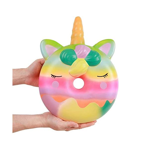 YXJC Fun Toys Squishies, Unicorn Donuts Squishy, Oversized Creamy Aroma Slow Rising Squeeze Toys for Stress Relief 4
