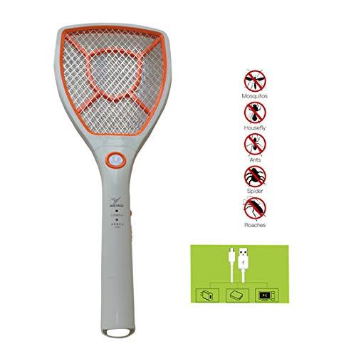 Polly Online Matamoscas Mosquito eléctrico Zapper Asesino de Mosquitos Raqueta eléctrica de Mosquito 2000 voltios USB Recargable