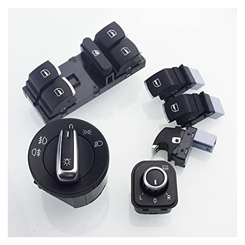 Shenghao Yige Store Interruptor de Faros de Cromo + Interruptor de la Ventana del Lado del Pasajero 3pcs Caber para VW Golf 5 6 Mk5 6 Jetta 5 6 Passat B6 Touran 5ND941431A 5ND959855