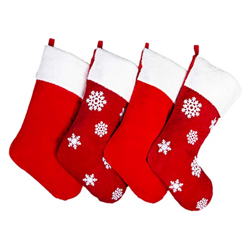 Cooperdisn Christmas Stockings 4 Pack, 18 inches Red Christmas Stockings with Snowflake Large Velvet Xmas Stockings for Family Xmas Party Decorations