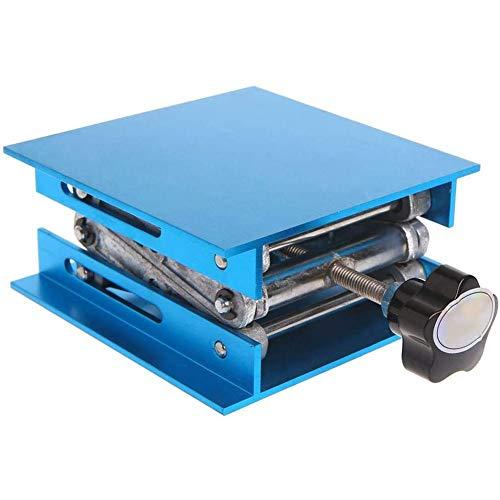 De Aluminio De Elevación Lab Soporte Router Mesa Elevadora Para El Experimento Ciencia 100 * 100 Mm Azul