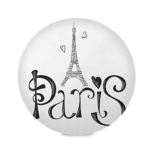 TropicalLife ADMustwin Set de table rond avec motif Tour d'Effie de Paris - Antidérapant et lavable - Pour cuisine, salle à manger, restaurant