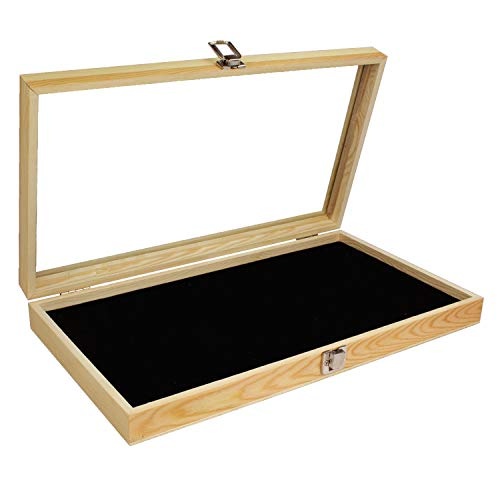 MOOCA Natural Wood Jewelry Display Case Accessories Storage Box with Metal Clasp, Glass Top and Black Velvet Pad, Wooden Jewelry Tray for Collectibles, Home organization