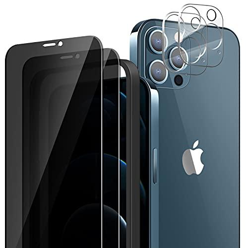 Diolusus 2 Stück Panzerglas Sichtschutzfolie Kompatibel mit iPhone 12 Pro Max und 2 Stück Kamera schutzfolie, Anti-Spy 9H Hartglas 3D Blasenfrei Schutzglas Privatsphäre Schutzfolie