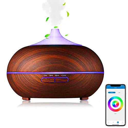 Difusor de aceites esenciales 400mL Multicolor LED, Ultrasónico, ambientador, temporizador inteligente, Difusor Aromaterapia Si Smart funciona con Amazon Alexa y Google Home