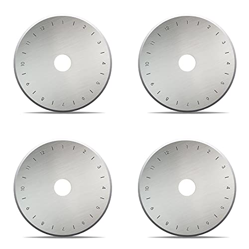 10 PCS 60mm Rotary Cutter Blades, SK5 High Carbon Steel Rotary Blade Sharpener, Titanium Coated Rotary Cutter Blades, Spare Replacement Cutting Blades for Cuts Fabric, Crafts, Leather and Paper