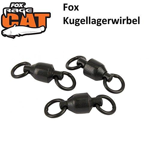 Fox Rage Cat Ball Bearing Swivels Wallerwirbel, Wirbel, Kugellagerwirbel, Wirbel mit Kugellager, Welswirbel, Wallerangeln, Welsangeln, 3 Stück, Größe:8