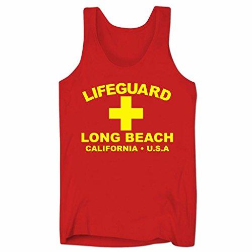 Herren Lifeguard Long Beach California USA Surfer Beach Kostüm Low Cut Träger-Shirt Rot S