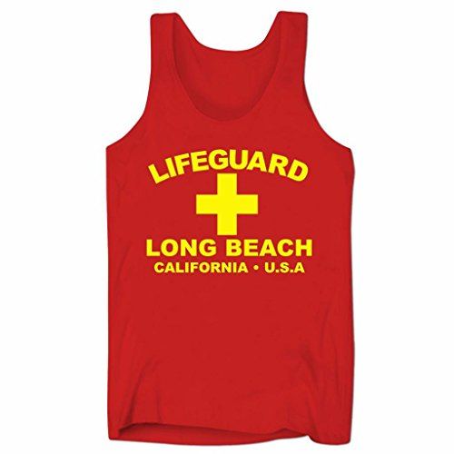 Herren Lifeguard Long Beach California USA Surfer Beach Kostüm Low Cut Träger-Shirt Rot M