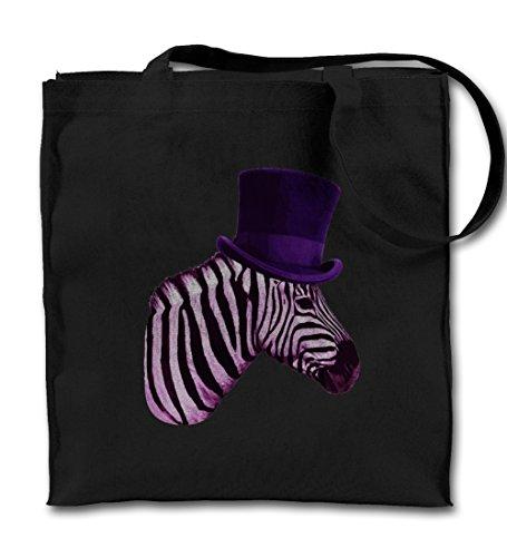 Teequote Zebra With A Hat Komisch Schwarz Canvas Tote Tragetasche, Tuch Einkaufen Umhängetasche