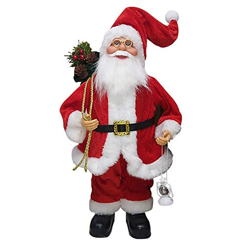 "BSUS 12"" Santa Claus Figurines Decoration,Standing Santa Claus Doll,Collectible Christmas Figurines Decoration for Home Party,Cute for Children Kids (C)"