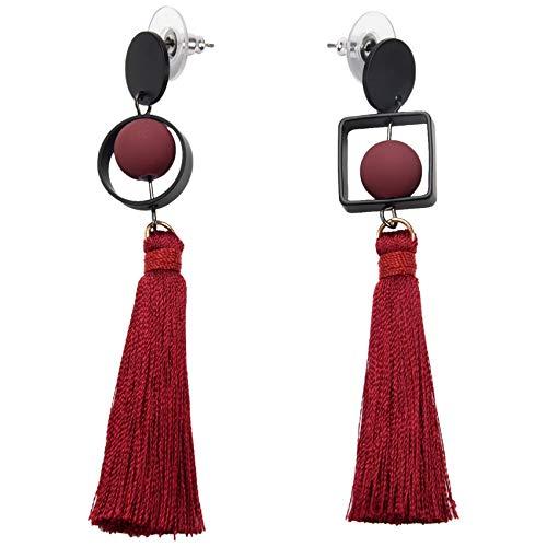 Fransande Pendientes largos geométricos exagerados para mujer, joyería de moda, perlas de imitación, pendientes colgantes para mujer (rojo)