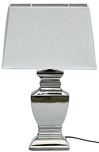 DRULINE ELSA Lampe Tischlampe Shabby Chic Tischleuchte Silber Weiß Lampen eckig