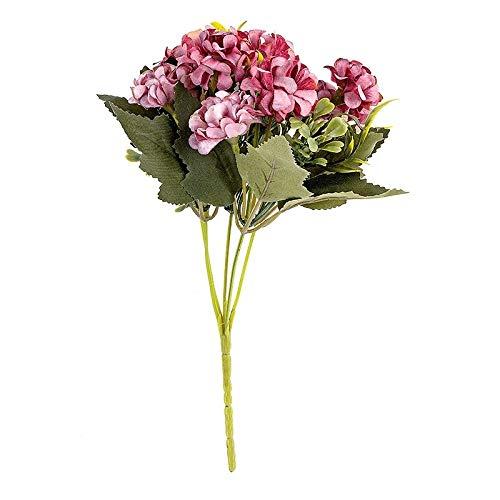Ideen mit Herz Künstliches Blumenarrangement | Blumenstrauß | Blütenbusch | verschiede Blumen und Farben, 28 cm hoch, Blüten Ø ca. 3-4 cm (Pink, Hortensien)