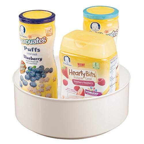 mDesign drehbare Ablage für Zubehör – stilvolle Ablagefläche für Babyausstattung wie Flaschen und Schnuller – runde Aufbewahrung aus BPA-freiem Kunststoff und Edelstahl – cremefarben