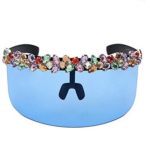 DLSM Übergroße Diamantbrille Sonnenbrille Frauen Einteiliger Vintage Spiegel Bunte Kristall Sonnenschutz Shades UV400 Retro Hut Brille-4