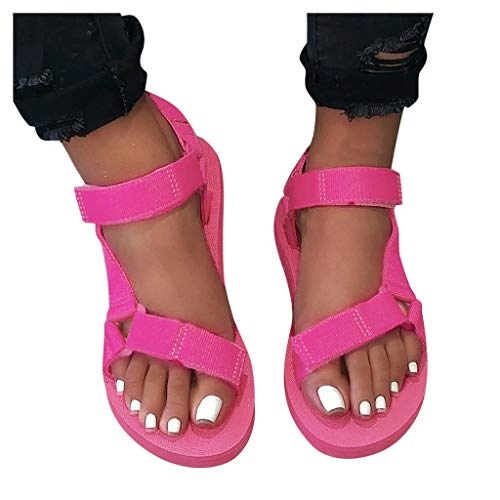 koperras Damen Platform Sandals Soft Comfortable Mode Casual Sportschuhe Lässige Strandschuhe Freizeitschuhe für Outdoor, Wandern, Pool Flache Schuhe (Weiß, Pink, Gelb,...