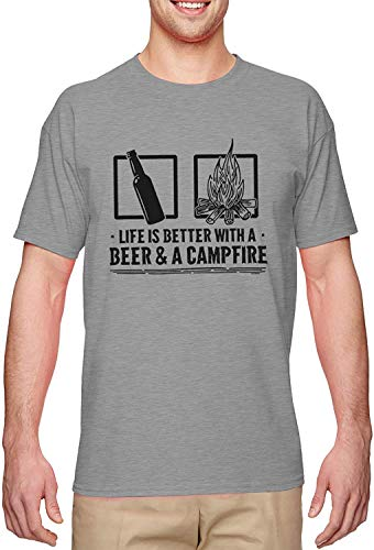 Life is Better with A Beer and A Campfire Men's T-Shirt,Light Gray,3X-Large