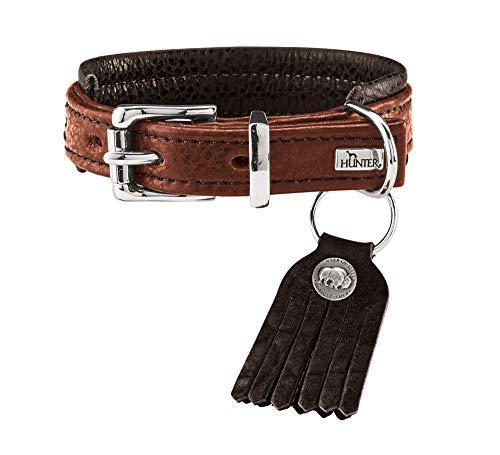 HUNTER CODY COMFORT Hundehalsband, Leder, rustikal, 40 (S), cognac/dunkelbraun