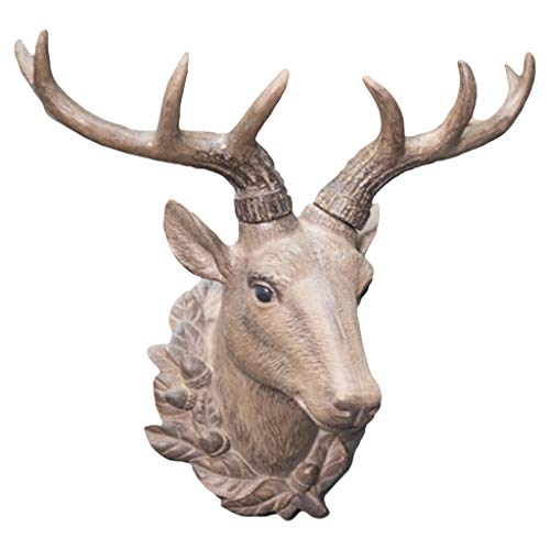 LIUBINGER Escultura Retro Living Room Deer Head Animal Decoración de la Pared Colgante Simulación 3D Resina 36 * 22 * ​​36 cm Manualidades