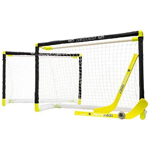 Franklin Sports Knee Hockey Goal Set - Mini Hockey Goals - 2 Goals - Pro Style Top Shelf - Kids Hockey Set - NHL, White