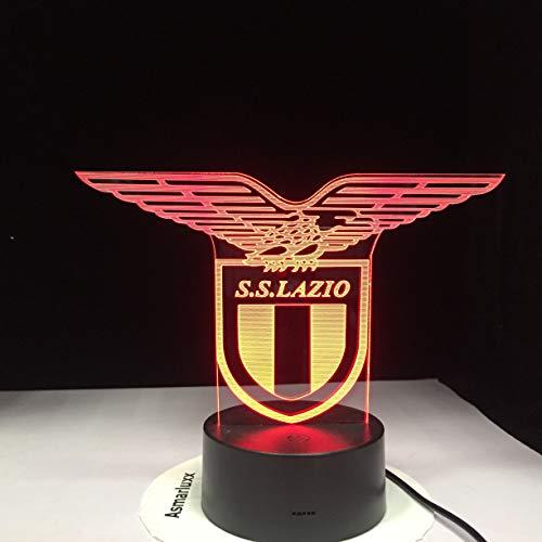 shiyueNB SS Lazio Italian Club 3D Lámpara de luz Nocturna LED Sensor táctil 7 Cambio de Color Office Club Home Bar Room Mesa Decorativa Lámpara de Escritorio