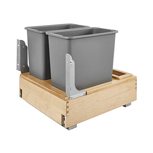 Rev-A-Shelf 4WCBM-2430DM-2 Double 30-Quart Kitchen Base Cabinet Pull Out Waste Containers Trash Cans with Soft Open & Close, Natural