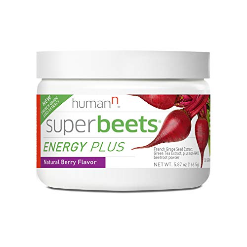 HumanN SuperBeets Energy Plus with Grape Seed Extract | Concentrated Non-GMO Beetroot Supplement with Green Tea Extract, 80mg Caffeine per Serving, Vitamin C, Natural Berry Flavor, 5.87oz