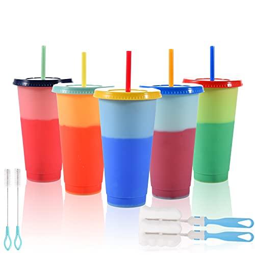 FORMIZON Vasos de Plástico que Cambian de Color, Juego de 5 Tazas Plástico Reutilizables con Tapas y Pajitas, Vasos Fríos de Bebidas, Tazas de Viaje Bebidas para Fiesta