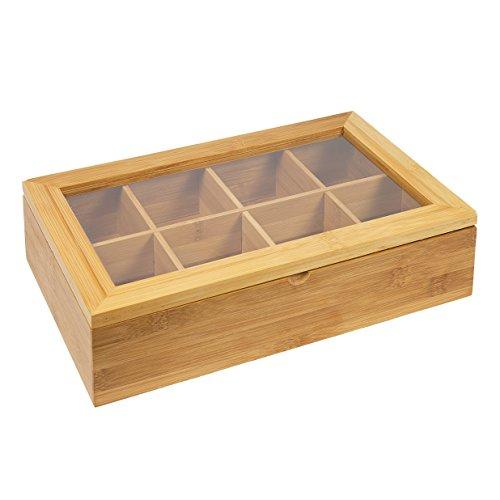 woodluv Teebeutel-Box, mit 8 Fächern, aus Bambus, Naturfarben