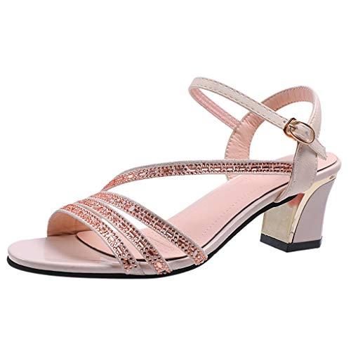 VECDY Sandales Femme, Simple Mode Eté Talon Carré Escarpins Femme Sandales de Plage Peep-Toe Boucle Talons Hauts Sauvages Les Loisirs Chaussures Bout Ouvert 3cm-5cm(Beige,37 EU