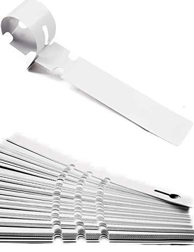 HomeTools.eu® - 100 Stück Beschriftungs-Bänder, Pflanzen Bäume Sträucher, Kunststoff 21 x 2cm, verwitterungsfest mit Schlaufe zur Befestigung, weiß