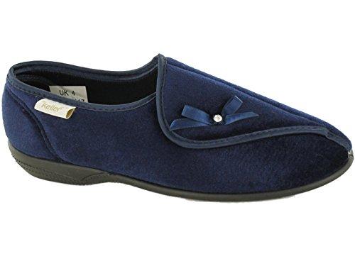Pantuflas Dr Keller, para mujer, anchas y ortopédicas, para personas con diabetes, con ajuste de velcro y forro, color Azul