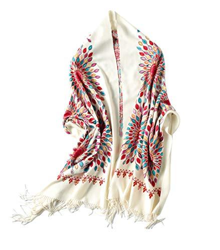 Women's Embroidered Oversize Tassel Shawl Scarf (Beige)