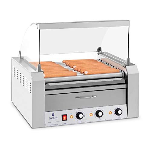 Royal Catering - Hot Dog Grill Hot Dog Maschine (11 Rollen, Edelstahl, 2.600 W, 2 Heizzonen, herausnehmbare Fettauffangschublade, Wärmeschublade, 20 Würstchen, mit Hartglasabdeckung)