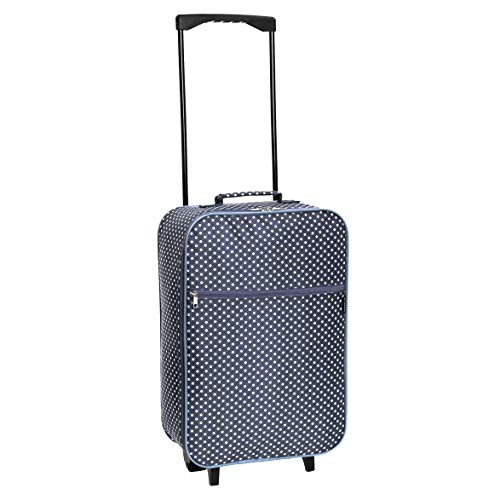 Slimbridge Cabin Carry-on Hand Luggage Suitcase Bag Ultra Lightweight 55 cm 0.95 kg 27 litres 2 Wheels, Barcelona Dark Blue Dots